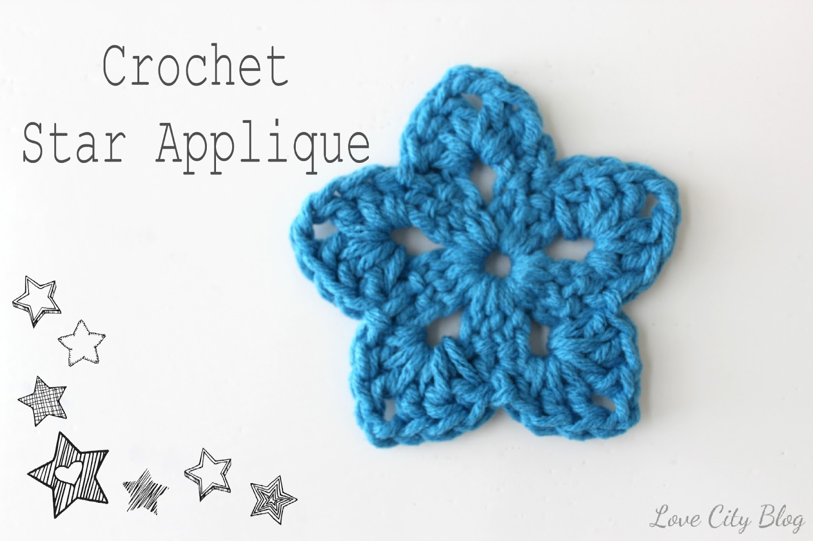 Crochet Love Star Applique