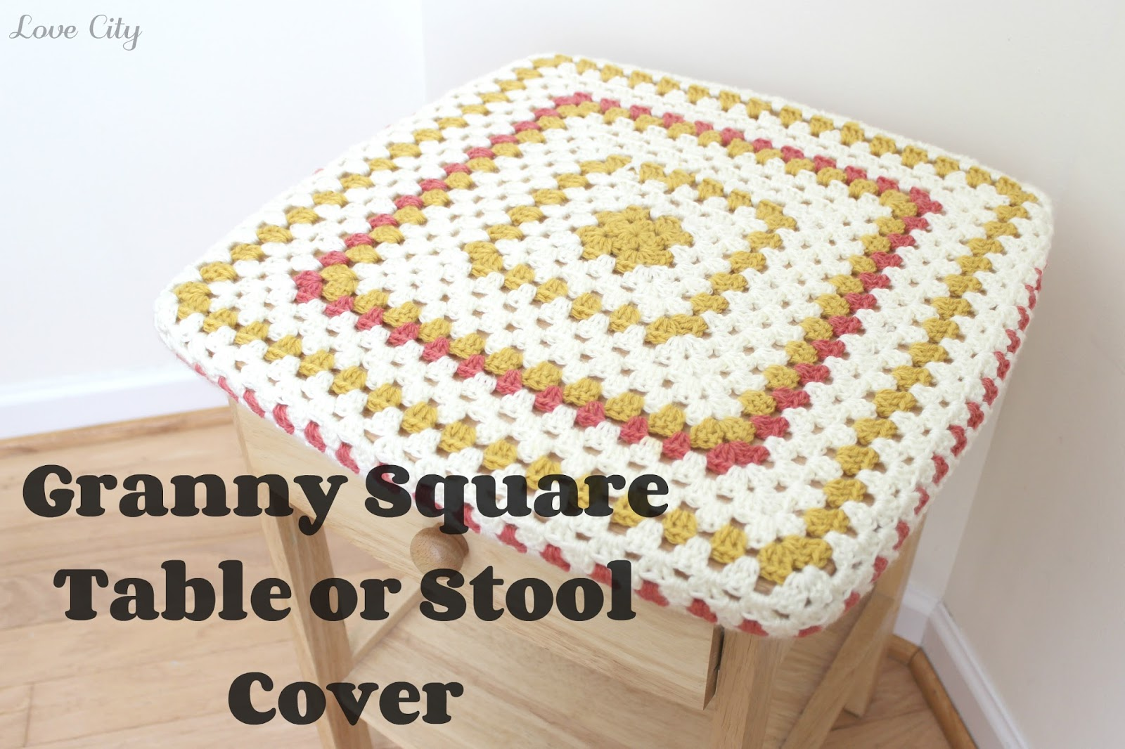 Book Cover Crochet Granny : Crochet love granny square table or stool cover