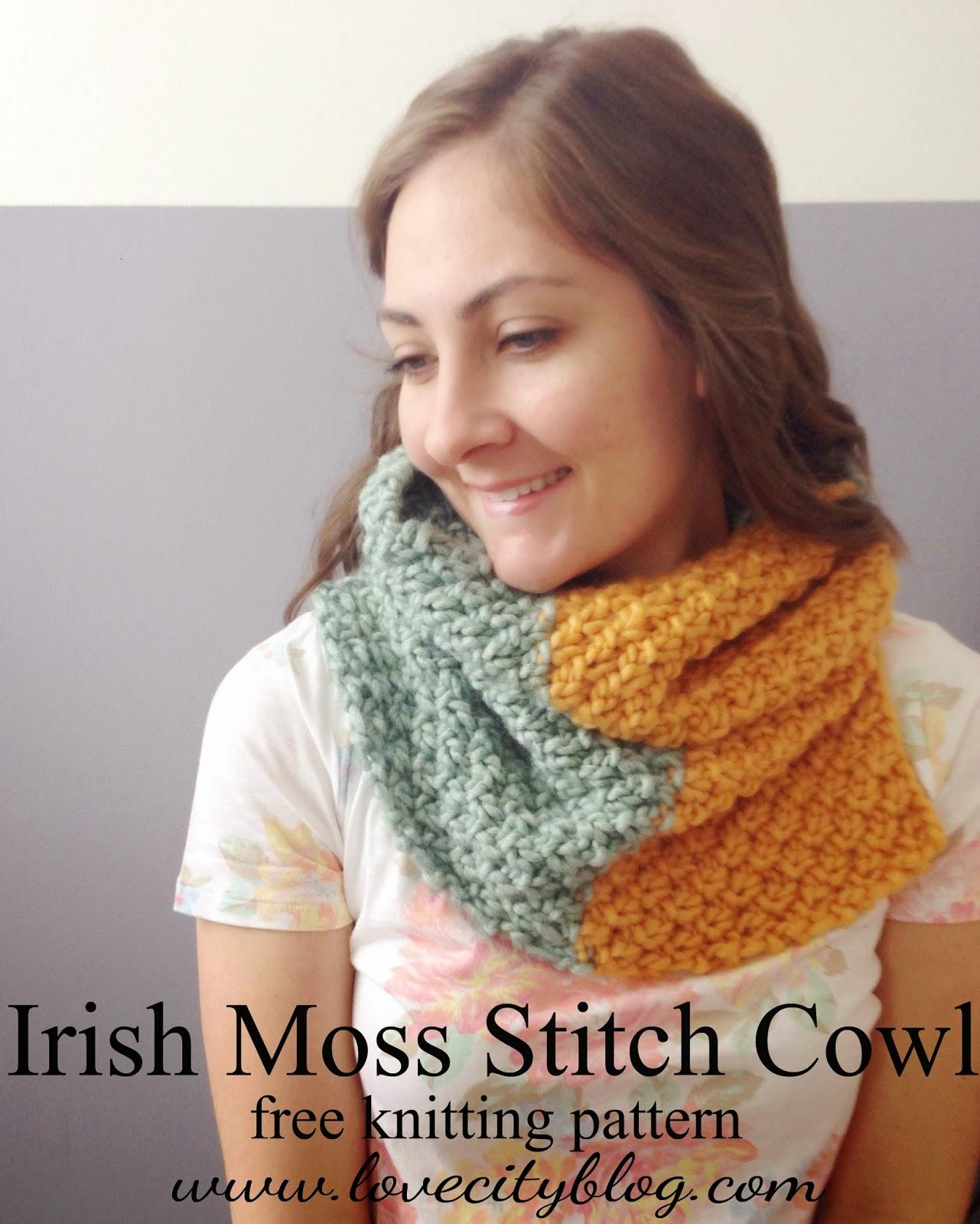 knitting love {Irish Moss Stitch Cowl}